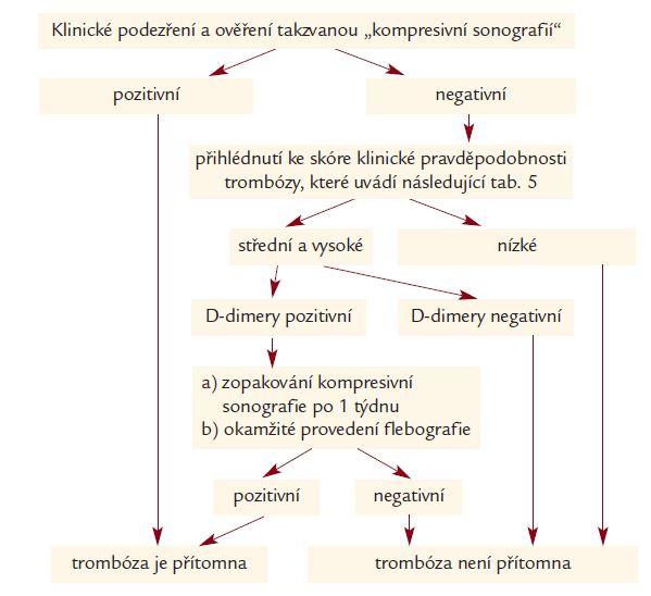 Schéma 1. Diagnostický postup při klinickém podezření na hlubokou žilní trombózu. Ve zjednodušeném schématu doporučuje tato společnosti zopakování sonografie po 3–7 dnech, trvá-li podezření (DGA, 2002, Stiegel, 2002).