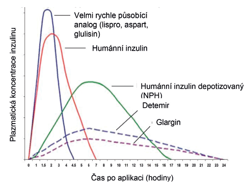 Farmakokinetika nejčastějších typů inzulinu užívaných v léčbě diabetu 1. typu u dětí.