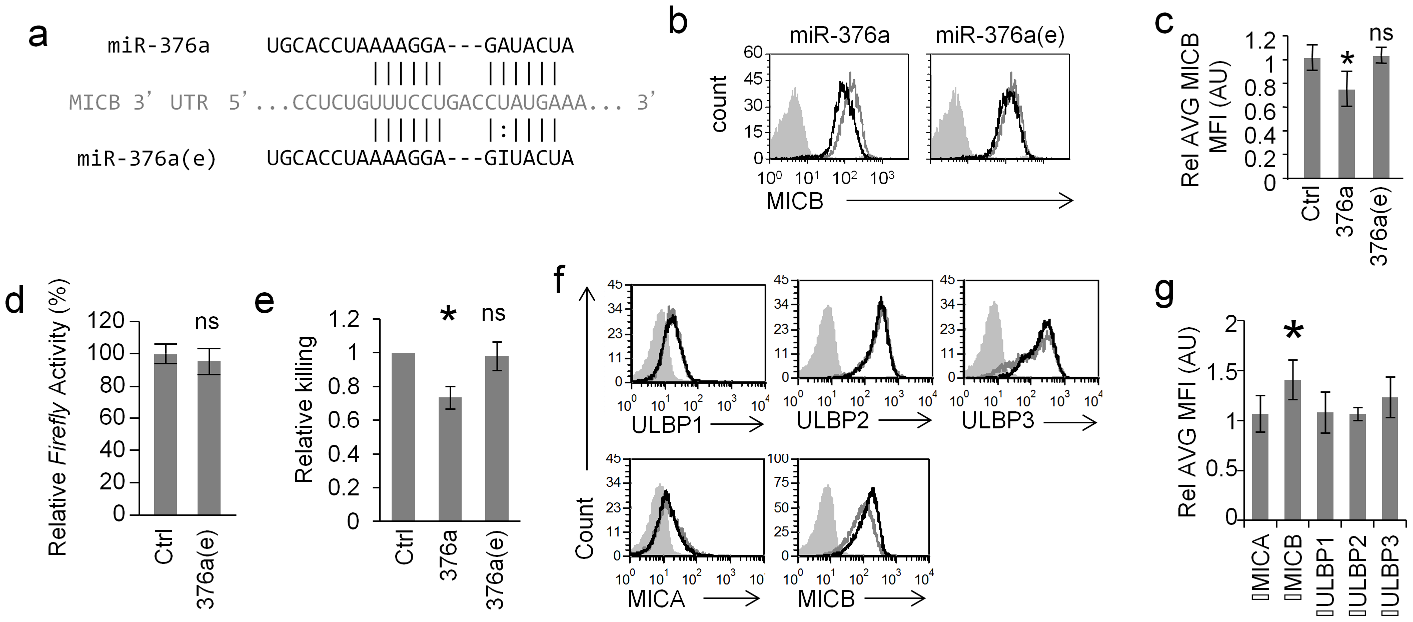 RNA editing of miR-376a abolishes its regulation of MICB.