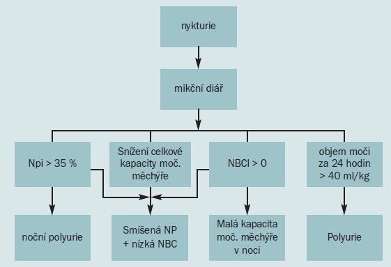 Vývojový diagram pro hodnocení nykturie.