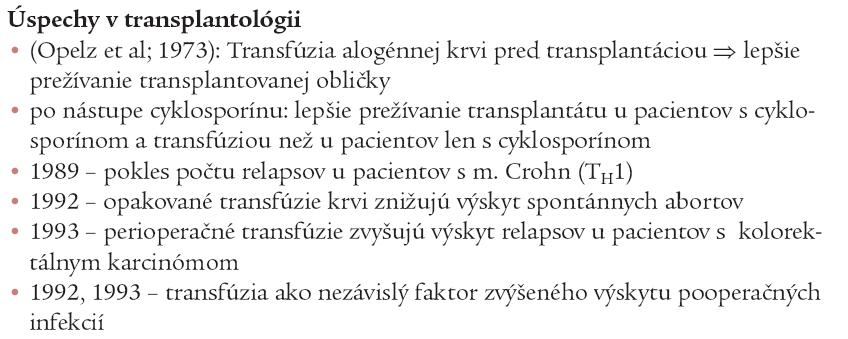 Dôkazy TRIM (transfúziou mediovanej imunomodulácie) u ľudí.
