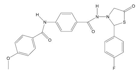 Derivát 4-thiazolidinu – inhibitor syntézy arabinogalaktanu