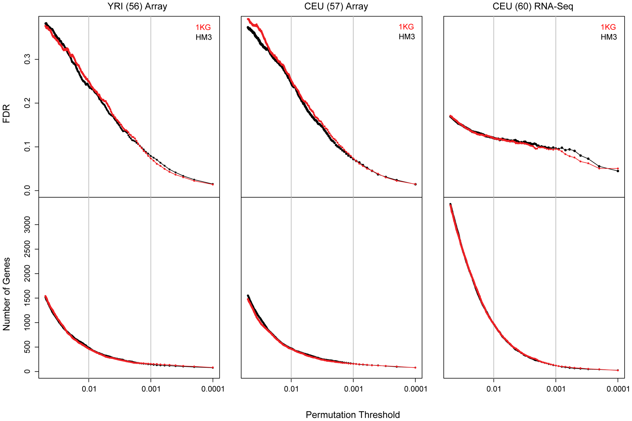 Comparison of eQTL discovery in HapMap 3 and 1000 genomes project data.