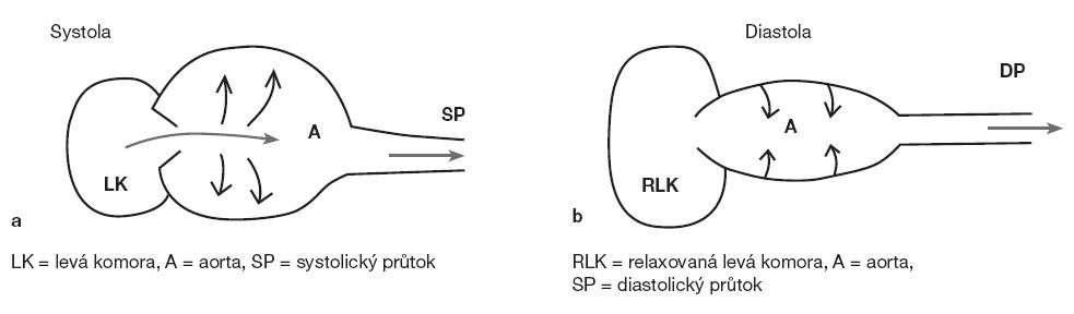 Obr. 1a, b. Schéma fungování Windkeesel efektu v průběhu srdečního cyklu