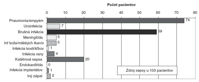 Ložisko infekcie ako zdroja sepsy v celom súbore pacientov