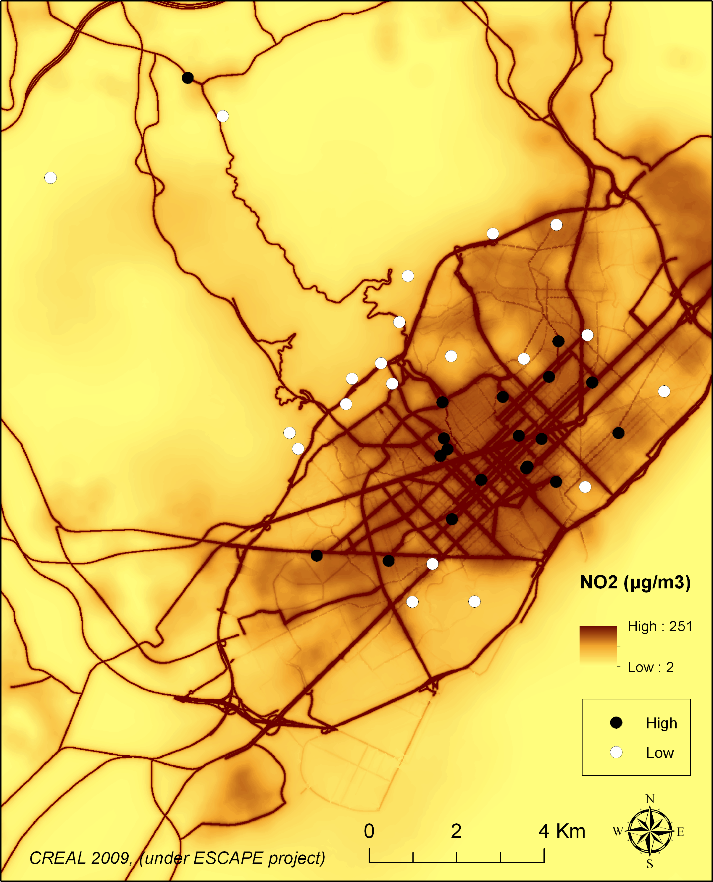 Map of Barcelona and the schools by high or low air pollution by design.
