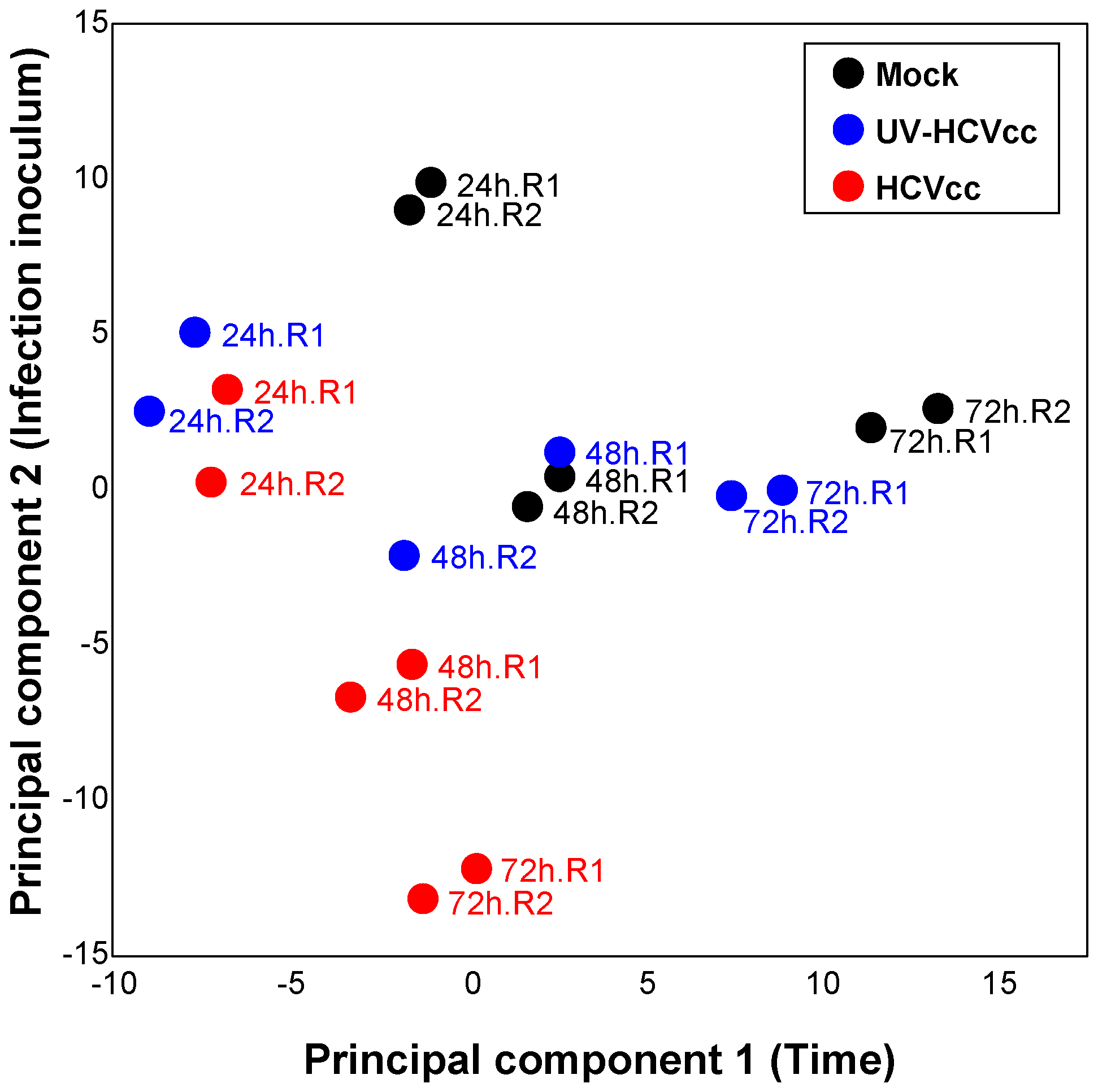 Principal components analysis scores plot showing the segregation of samples based on lipid profiles.
