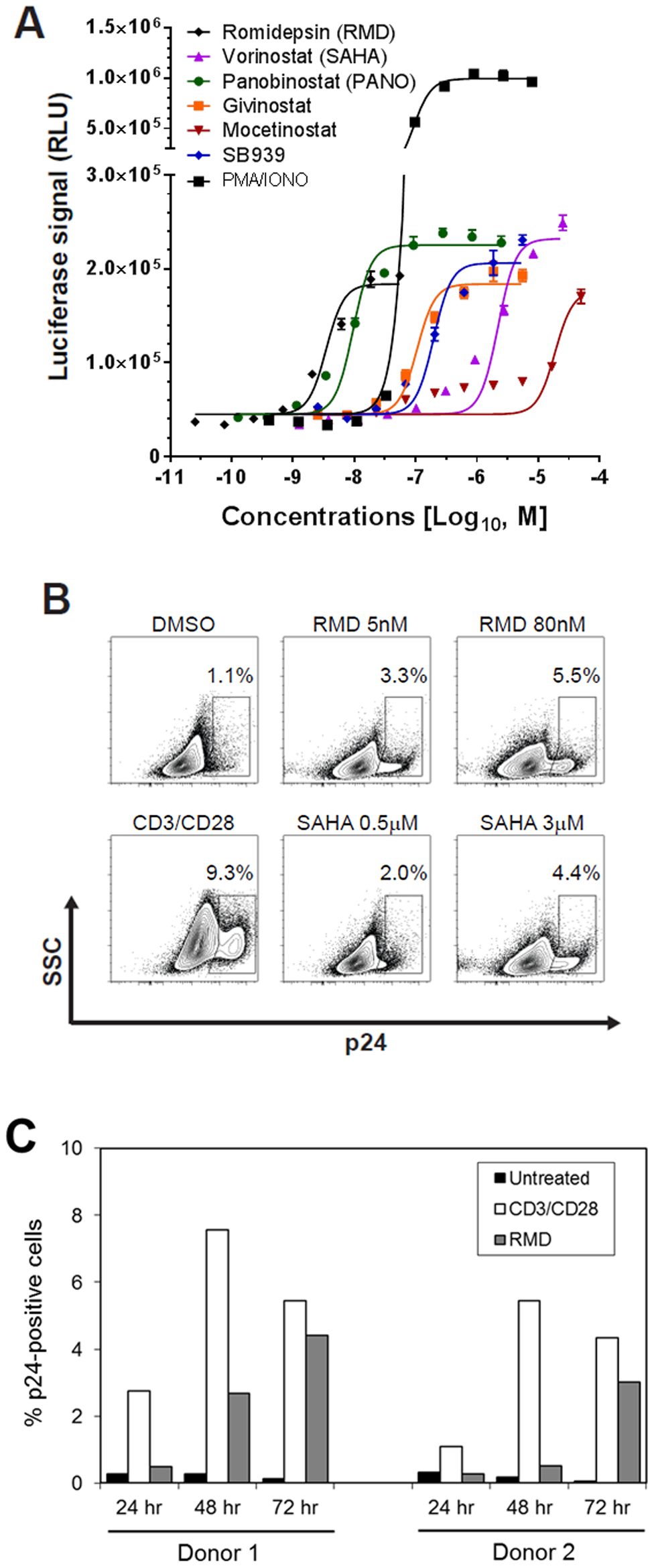 In vitro activation of HIV expression by HDAC inhibitors in an in vitro latency model.