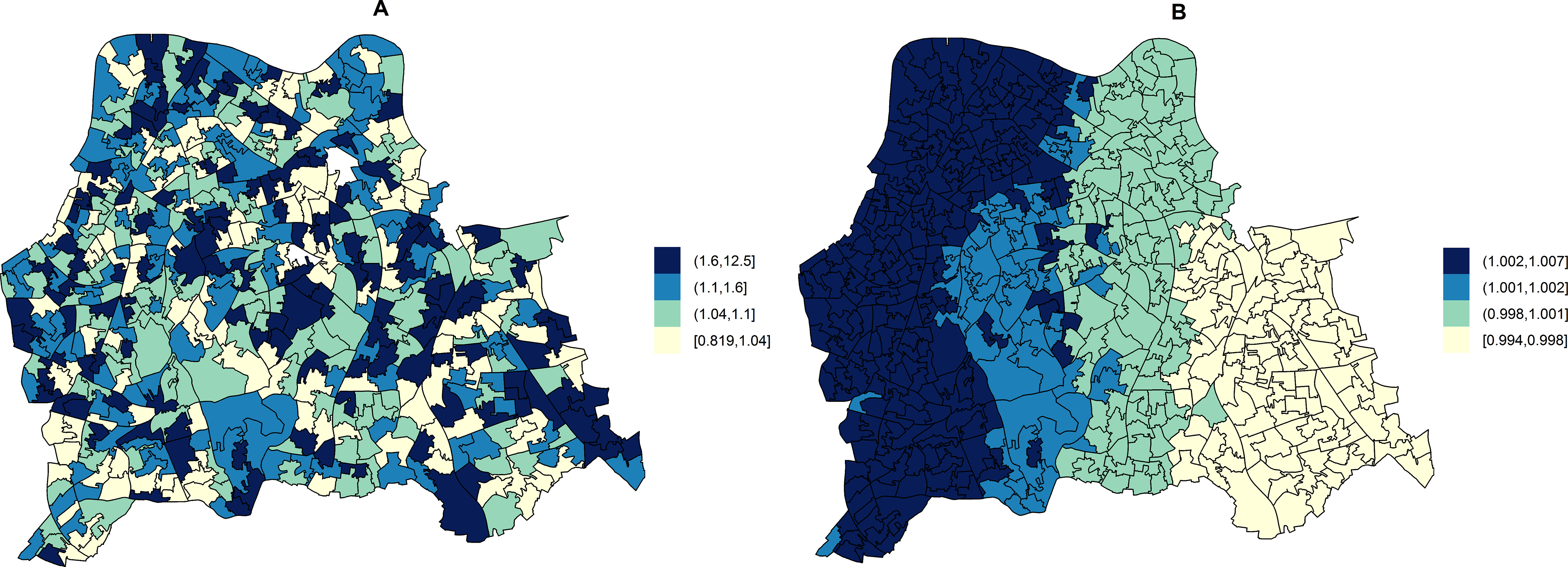 Maps for RR of HA- and CA-MRSA in LSOAs compared to the whole catchment area, in ecological regression models accounting for area-specific quintile-stratified percentage of usual residents attending a hospital and households deprived in 2–4 dimensions (HA-MRSA) or 1–2 dimensions (CA- MRSA).