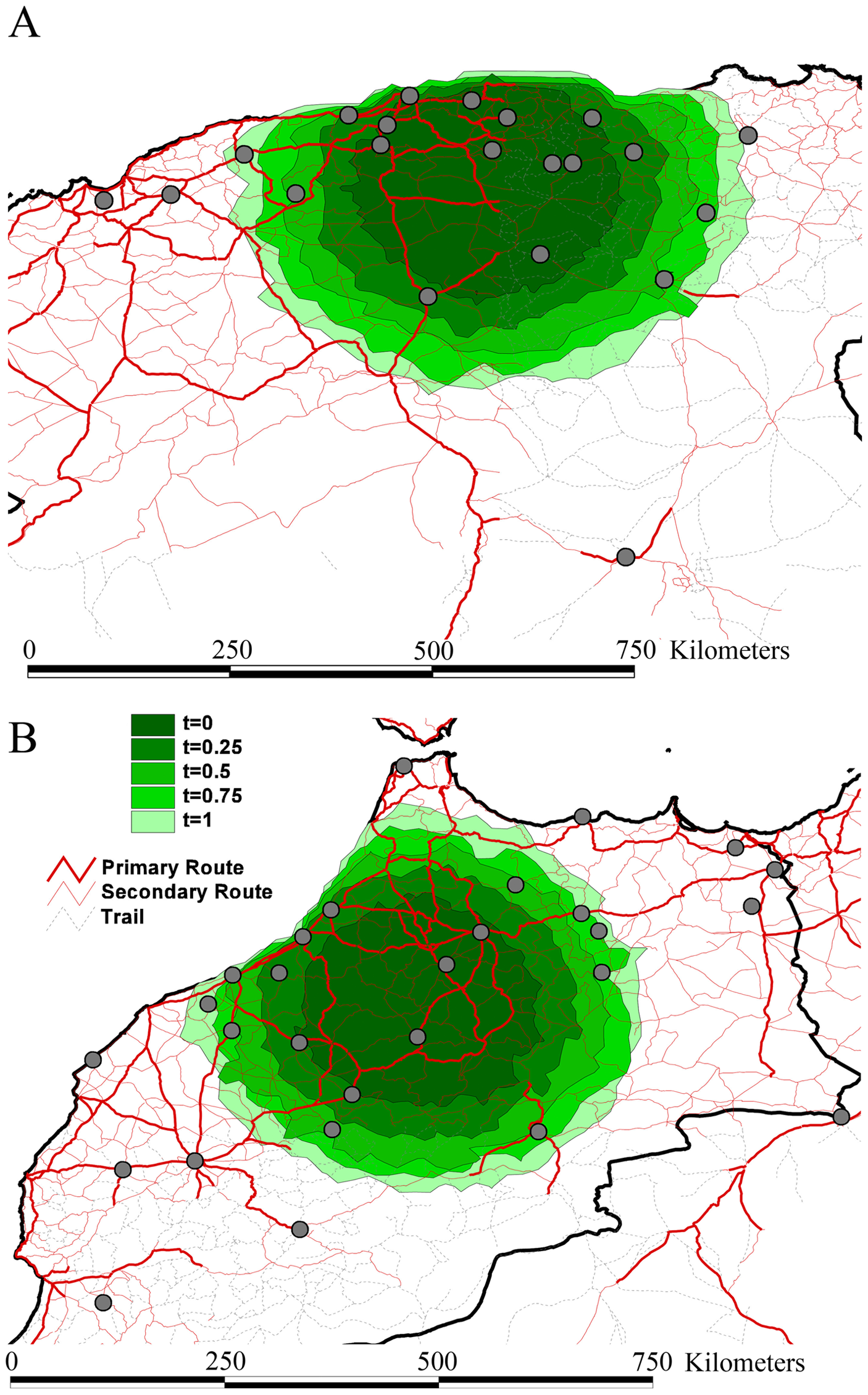 Spatial simulation based on the inferred evolutionary histories and epidemiological parameters of rabies spread in Algeria (A) and Morocco (B).