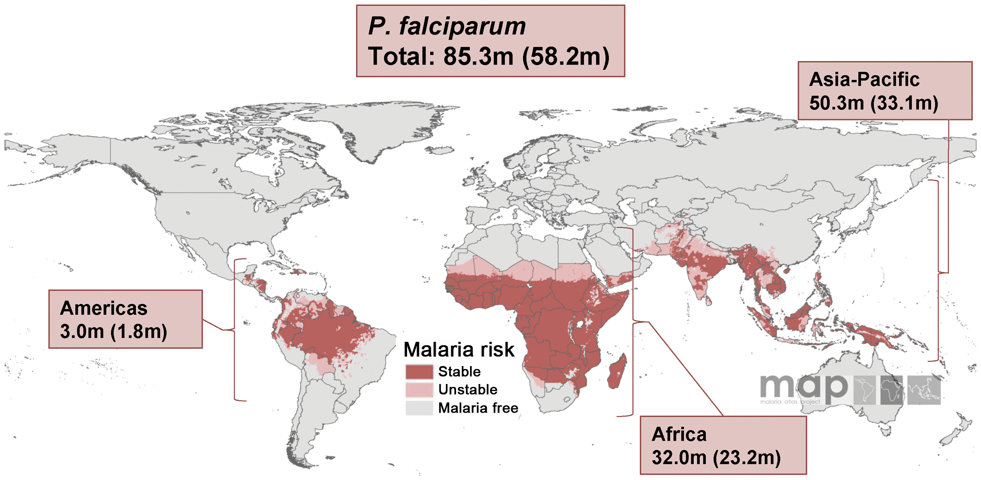 Malaria risk map for <i>P. falciparum</i> and corresponding number of pregnancies in each continent in 2007.