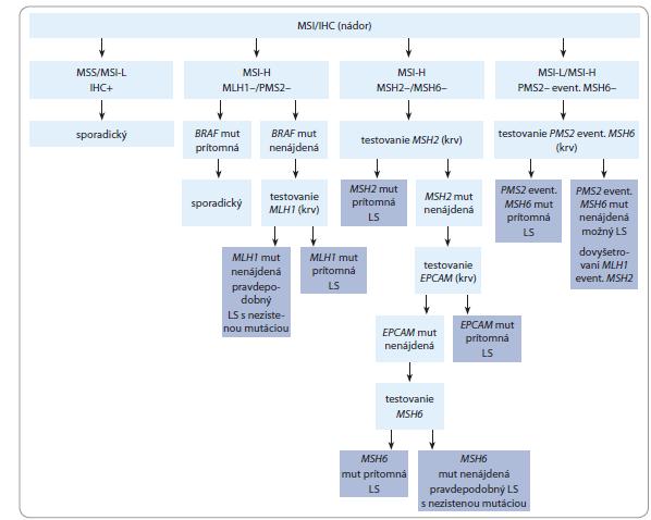 Schéma 1. Algoritmus testovania Lynchovho syndrómu.