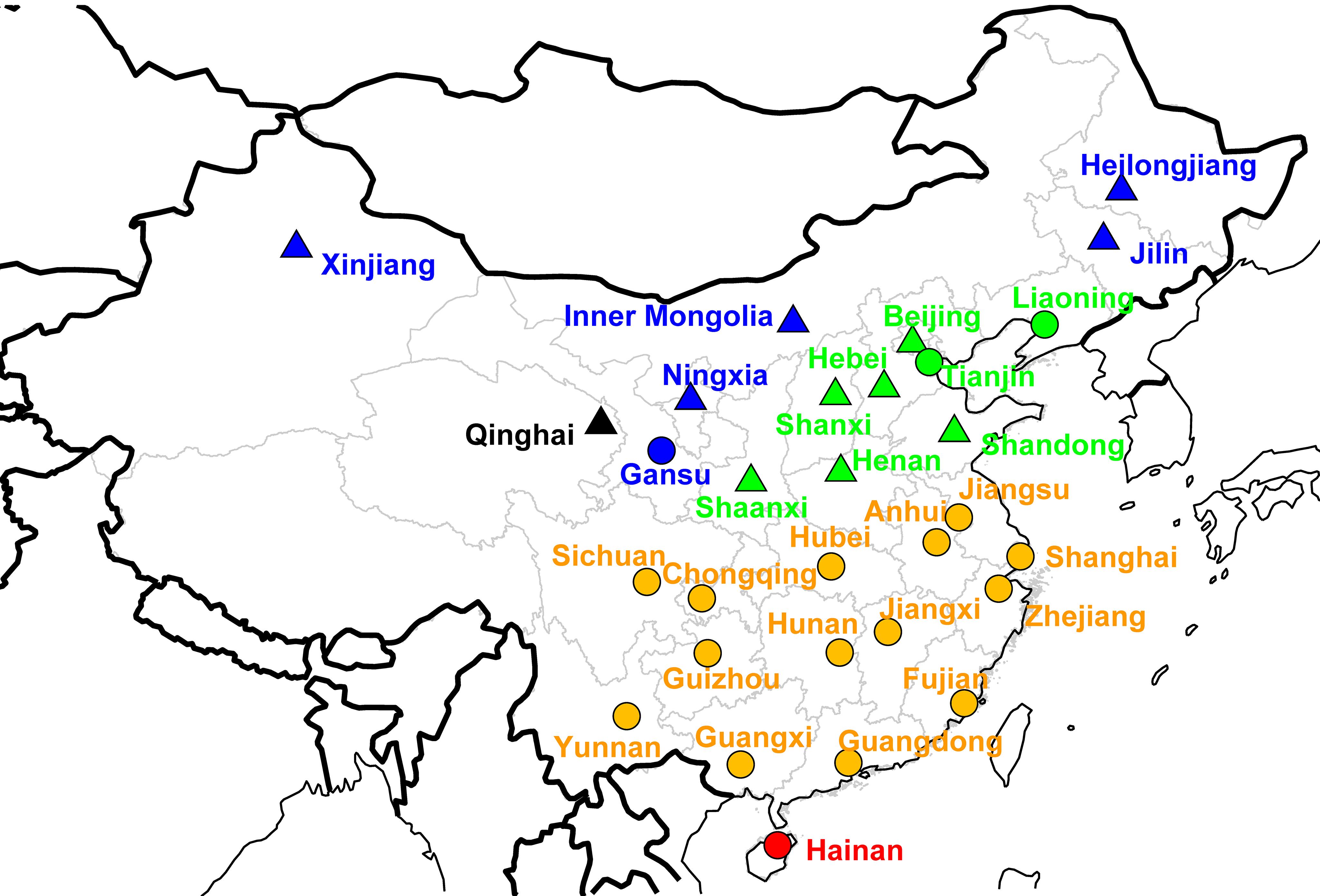 Map of Chinese provinces conducting influenza surveillance (<i>n</i>=30).