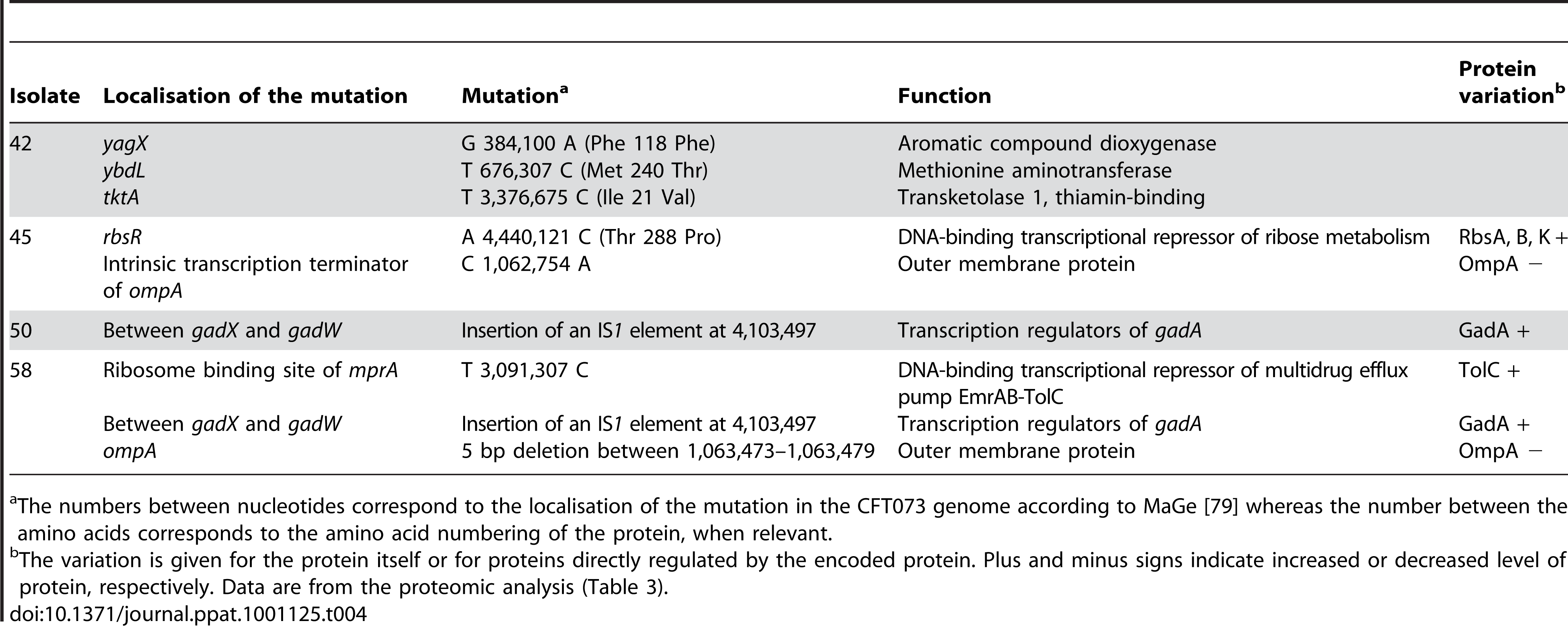 Mutations identified by whole genome sequencing on 4 <i>E. coli</i> isolates of patient 3.