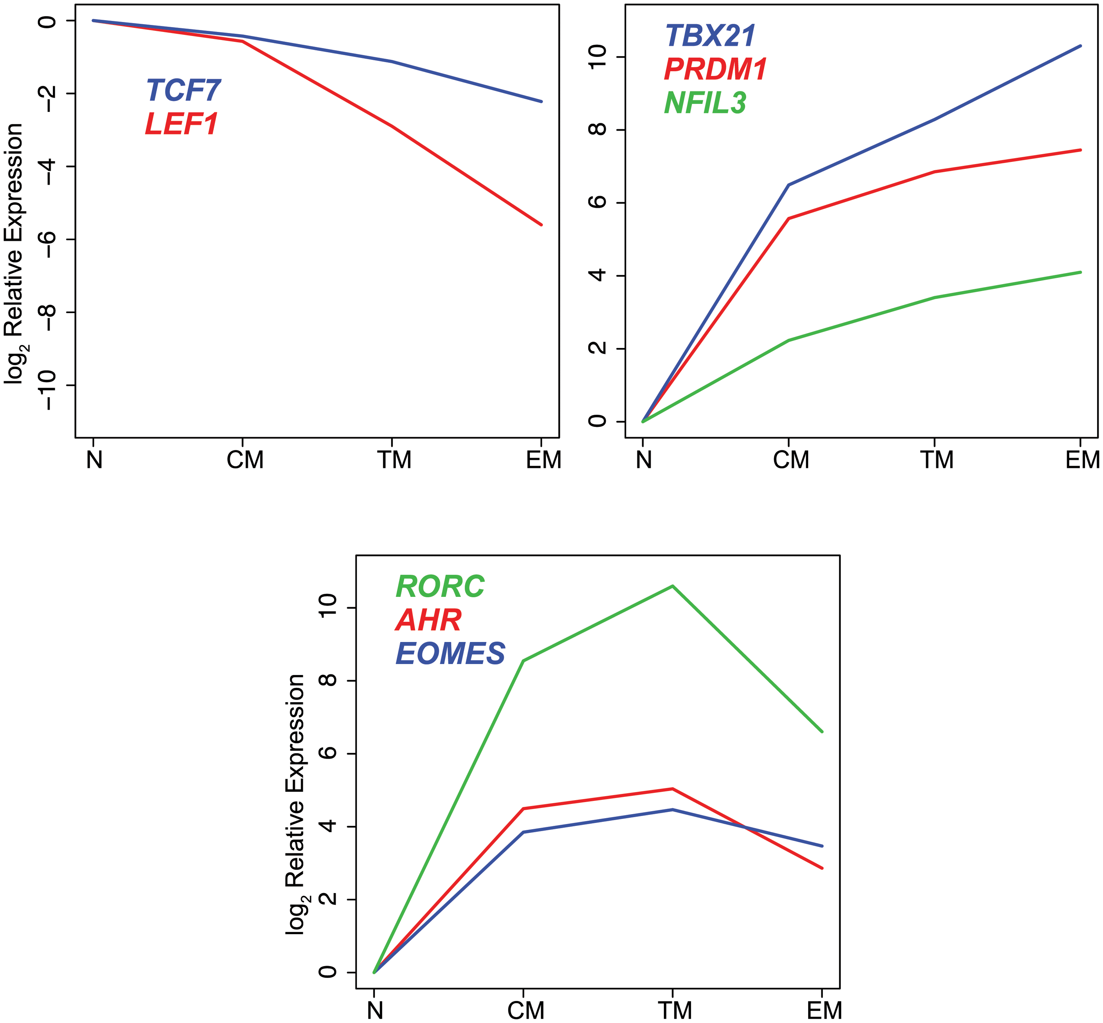 Differential expression of transcription factors in CD8<sup>+</sup> naïve and memory T cell subsets.