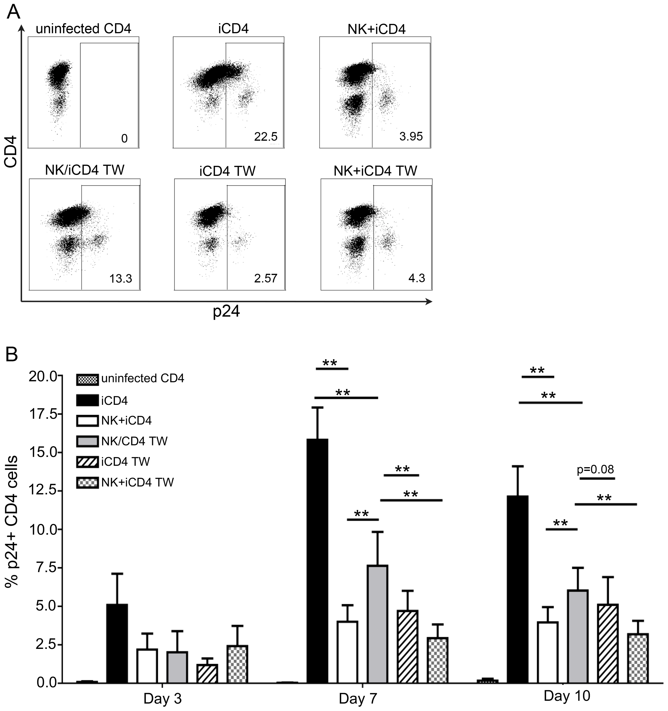 NK cells inhibit HIV replication in autologous HIV infected CD4 T cells in a contact dependent manner.