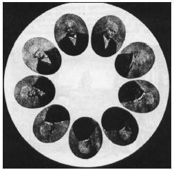 Kotouč s pohybovými fázemi otáčející se Purkyňovy hlavy.