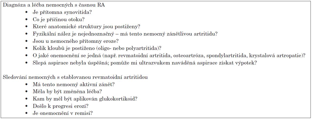 Otázky na které může sonografie pomoci najít odpověď.