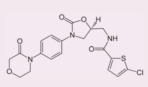 Chemická struktura rivaroxabanu.