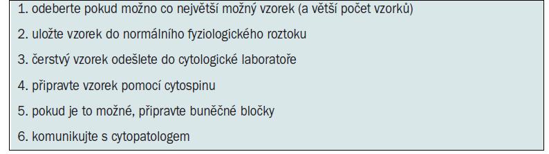 Manipulace se vzorkem biopsie a jeho zpracování.