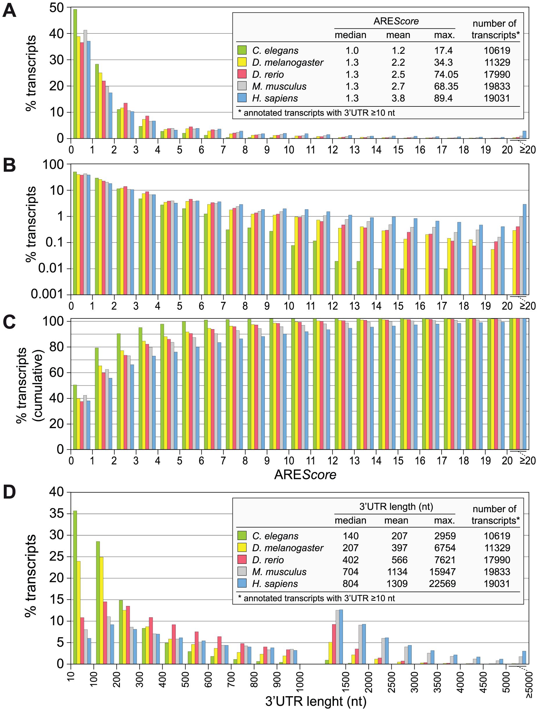 ARE<i>Score</i> distribution in different metazoa.