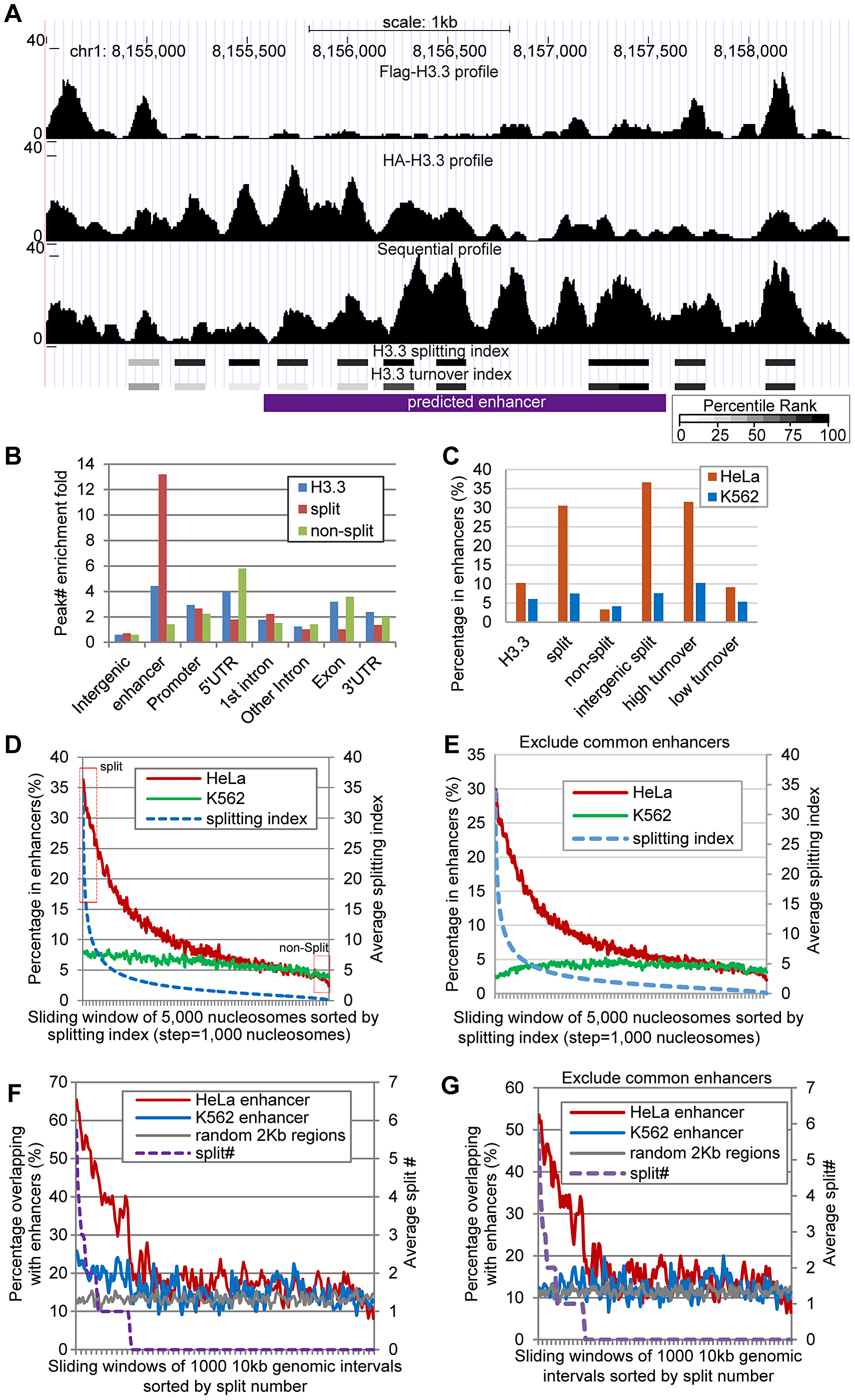 H3.3 nucleosome splitting events feature cell-type specific enhancers.