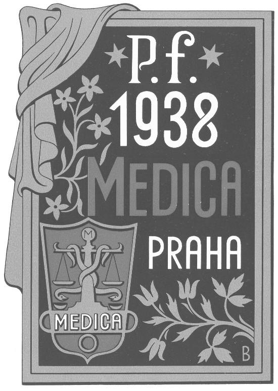 Novoročenka fy Medica Praha na rok 1938 Autor B. Baruch
