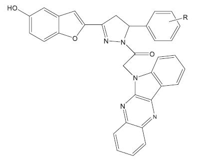 Ukázka skupiny indofenazin 1,2.5-trisubstitovaných pyrazolinových derivátů hodnocených in vivo