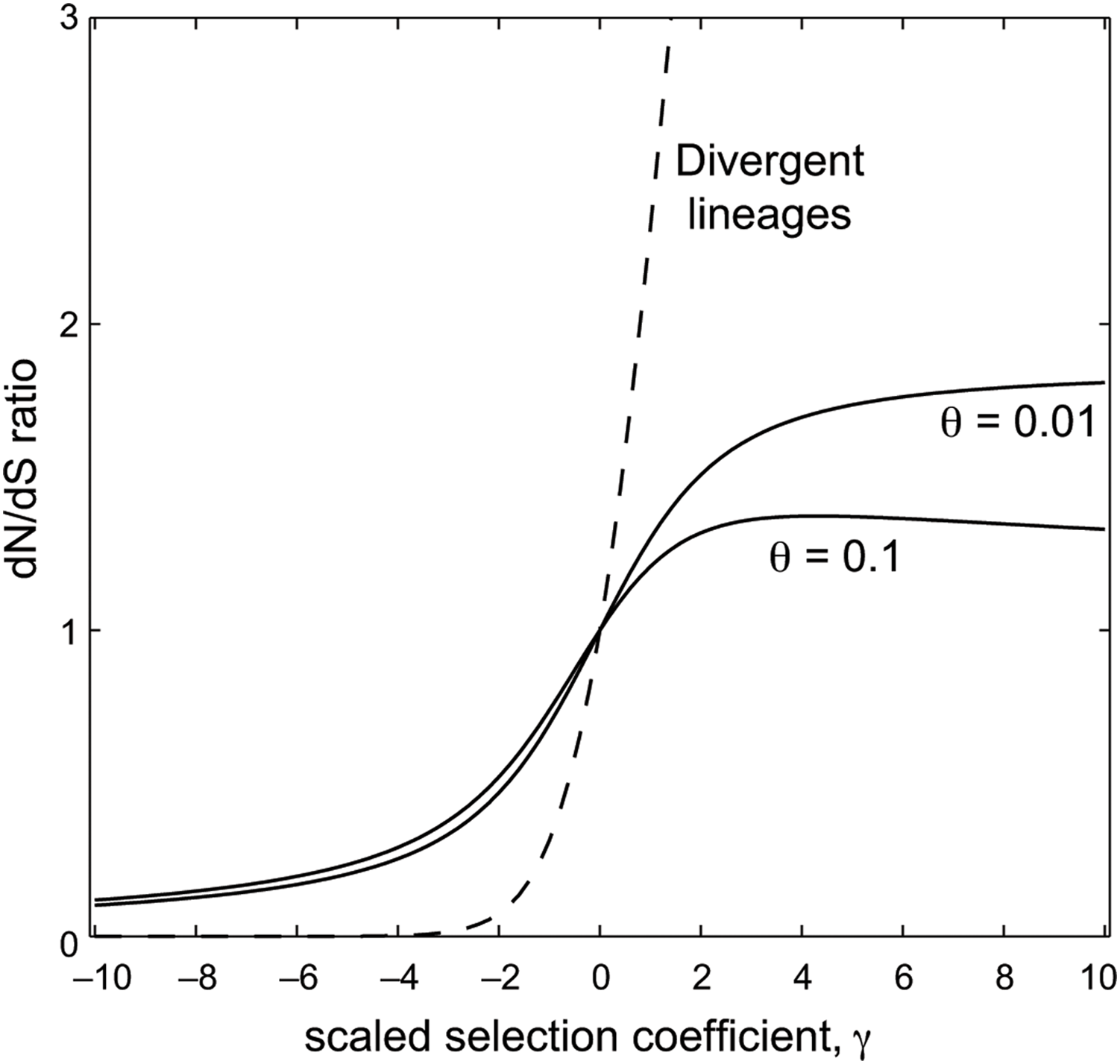 The relationship between the scaled selection coefficient, <i>γ</i>, and the expected dN/dS ratio.