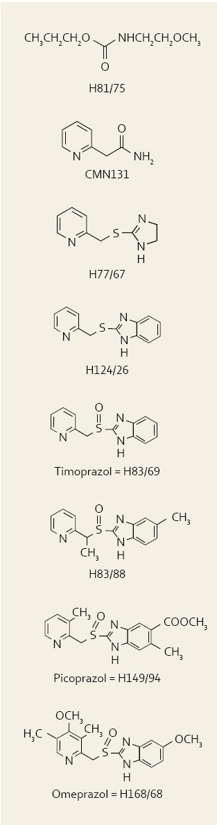Přehled vývoje jednotlivých molekul, které vedly až k syntéze omeprazolu. Fig. 1. The overview of particular molecules which led to omeprazole synthesis.