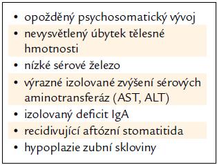 Cílený screening celiakie – cílová skupina: podezřelé symptomy.