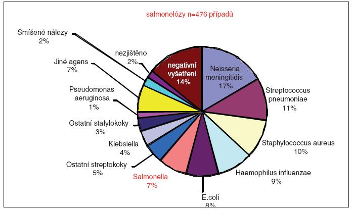 Invazivní formy onemocnění (sepse a meningitidy) u 6 514 nemocných v letech 1997– 2007 v ČR