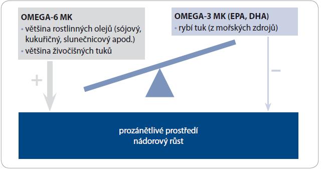 Nadmíra omega-6 MK ve stravě může kompetitivním způsobem vyrušit protizánětlivý a protinádorový efekt omega-3 MK.