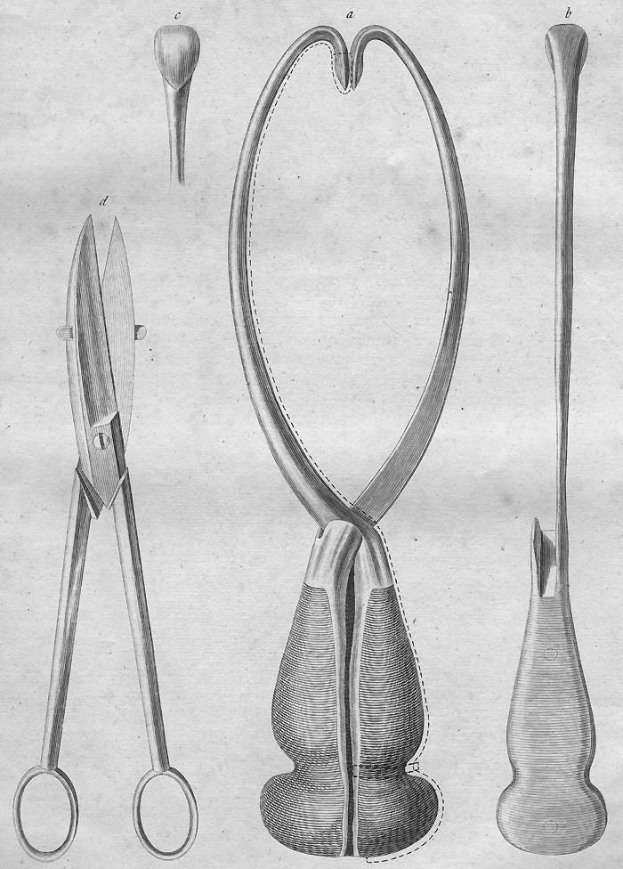 Smellieho perforační nůžky s dlouhými rukojetěmi a ostrou špičkou a Smellieho dekapitační háky