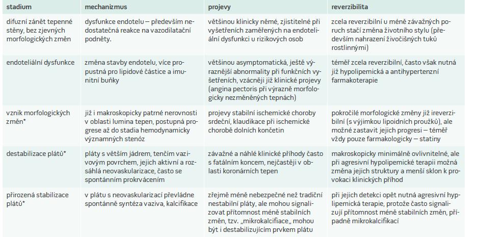 Stadia vývoje aterosklerotických změn a jejich reverzibilita