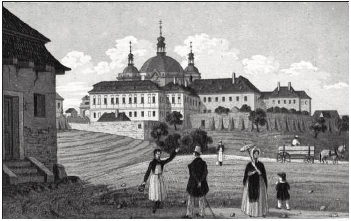 Pohled na zrušený klášter na Karlově – budova, v níž bylo původně plánováno umístění všeobecné nemocnice