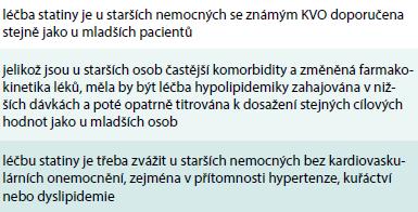 Doporučení pro léčbu dyslipidemií u starších osob