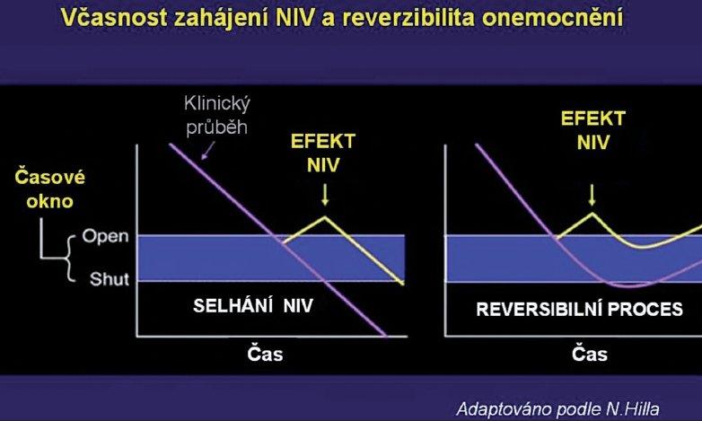 Závislost dynamiky průběhu respirační insuficience, včasnosti intervence a úspěšnosti NIV (podle 1) U rychle odeznívajícího základního onemocnění a včasné indikaci se lze pomocí NIV intubaci vyhnout (plicní edém). U onemocnění s pomalejším průběhem (pn