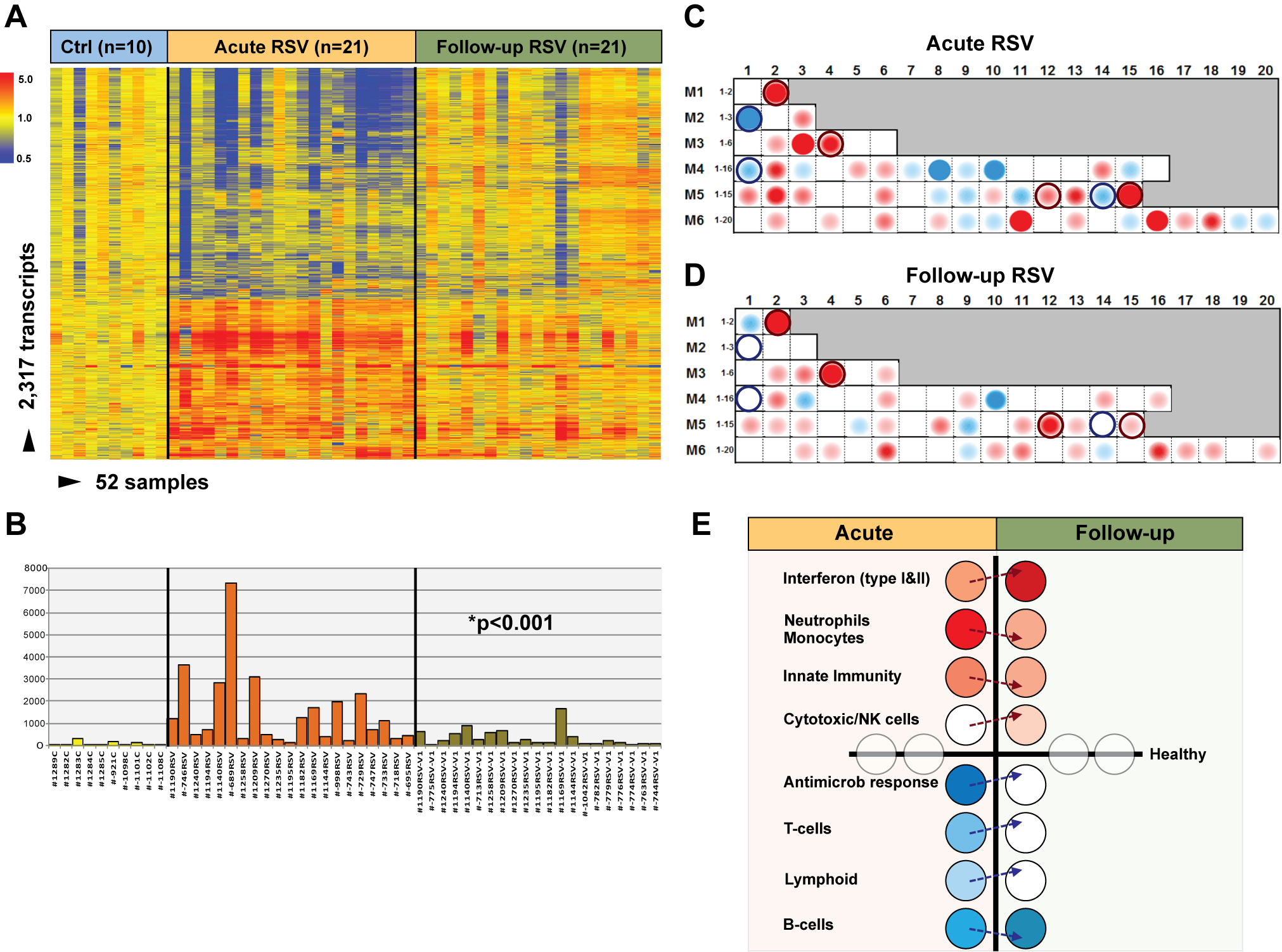 Blood host immune profiles remain altered 1 mo after acute RSV LRTI.