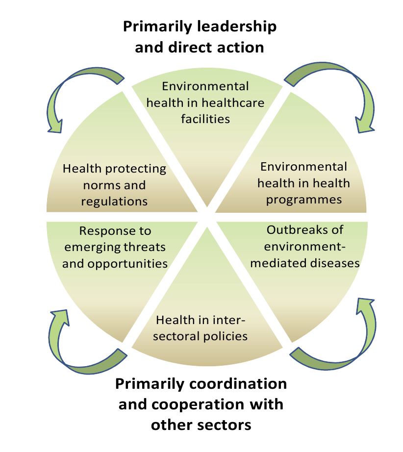 Health sector functions to secure environmental health.