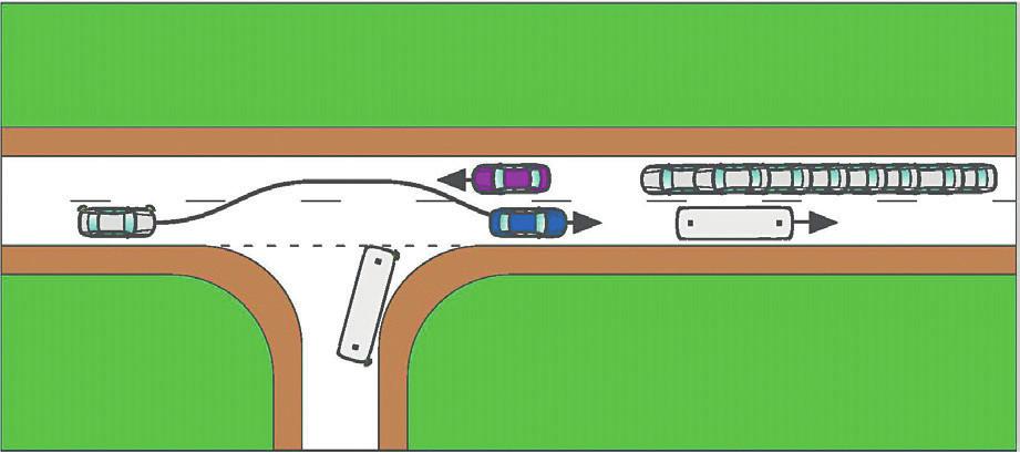 Při včasném brzdění řidiče fialového OA by se modrý OA stihl zařadit zpět za již zrychlující autobus