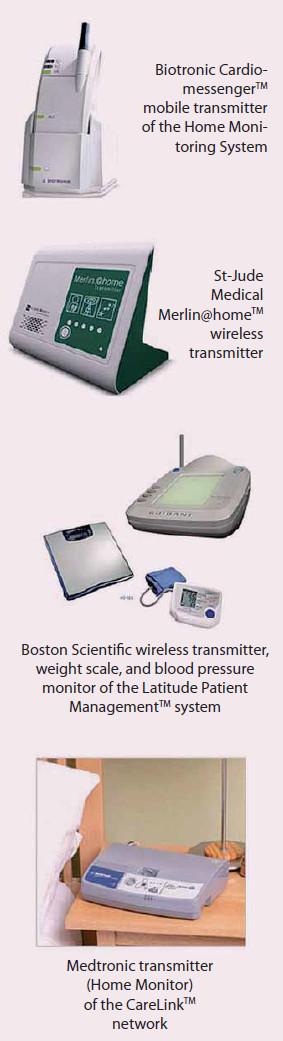 Pacientské jednotky dálkové monitorace různých firem.