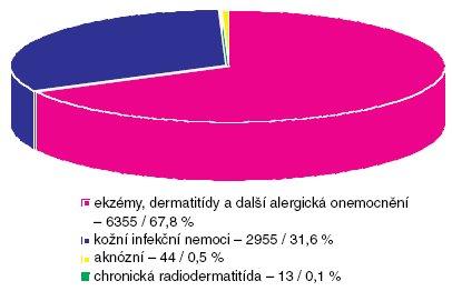 """Profesionální dermatózy – podle kapitol """"Seznamu nemocí zpovolání"""" vČR (1992–2007) (n 9363)."""
