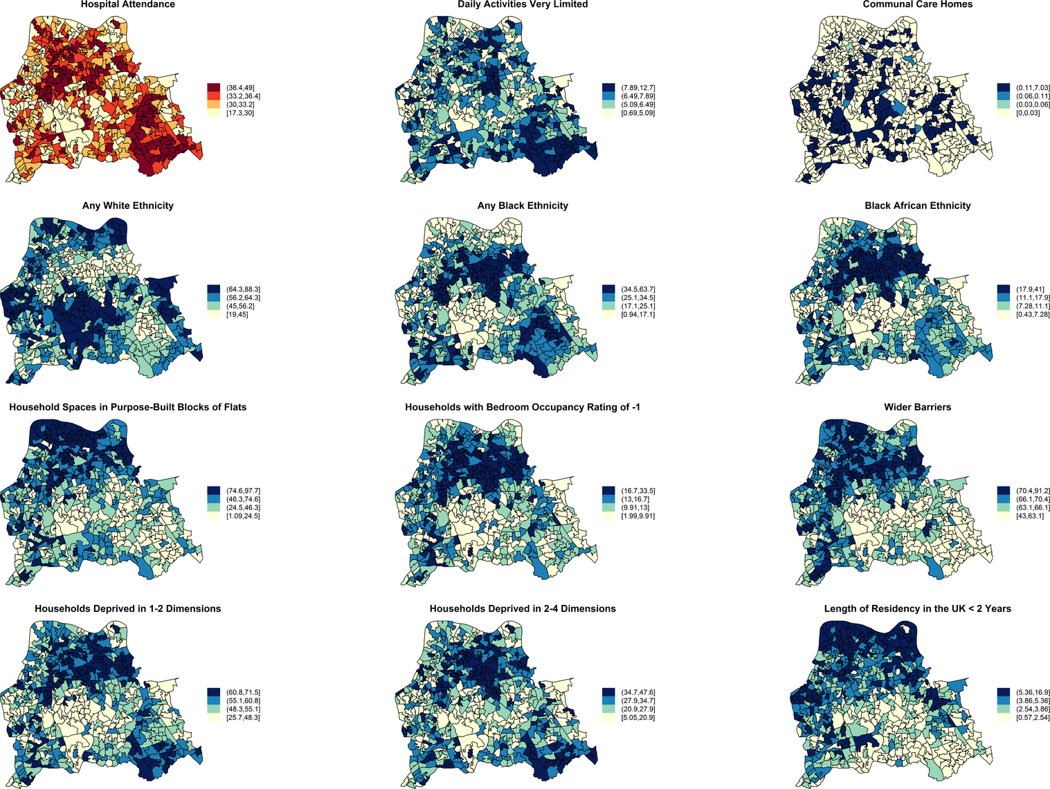 Maps for significant predictors of MRSA infection or colonisation in catchment areas of the London hospital cohort.