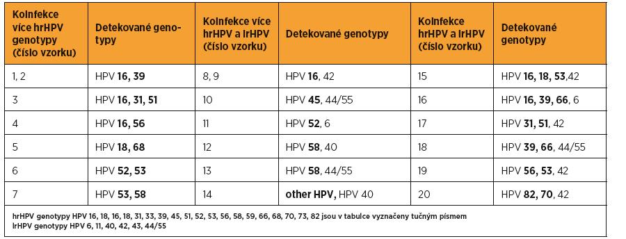 Detekované HPV koinfekce u 20/49 HPV pozitivních vzorků