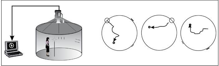Blue Velvet Arena – schéma tří orientačních úloh: (zleva) allocentrická + egocentrická, egocentrická, allocentrická.