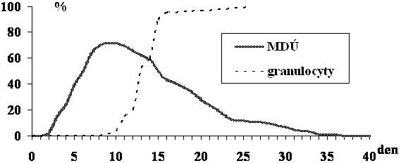Incidence postižení mukozitidou dutiny ústní (MDÚ) v aktuální den po alogenní transplantaci krvetvorných buněk u protokolu přípravy FLU/MEL a incidence reparace granulopoézy (granulocyty ≥1,0x10<sup>9</sup>/l).