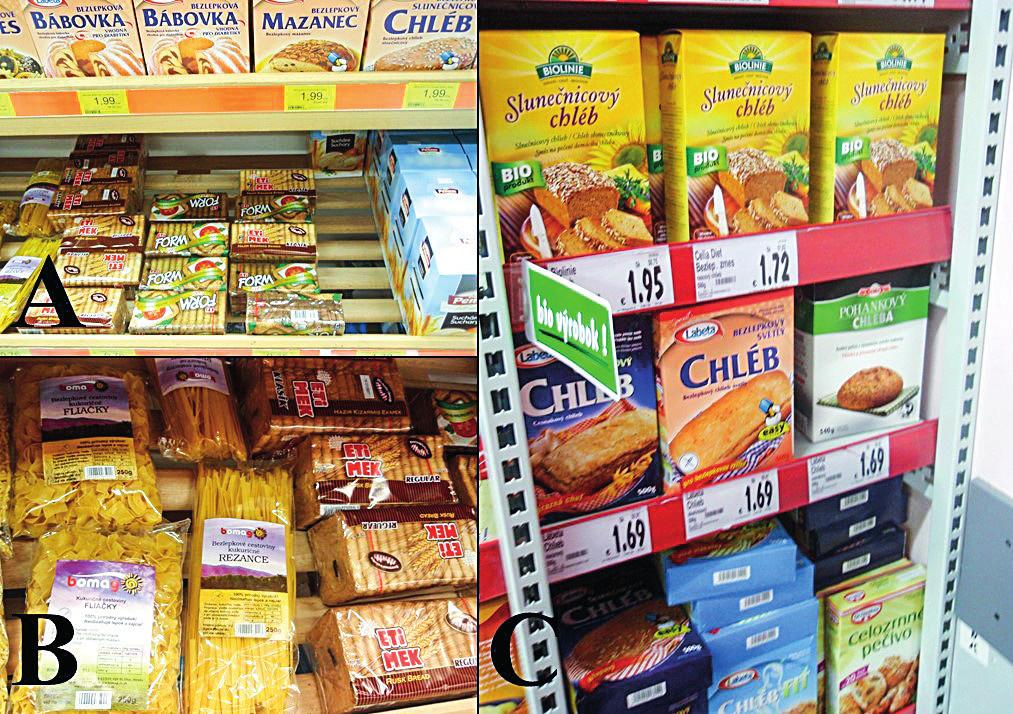 Chaos v regáloch, ktoré sú vyhradené pre bezlepkové produkty A a B: dokumentuje primiešanie klasických obilninových produktov medzi bezlepkové, Komárno, Slovenská republika. Napríklad inde C: došlo k pomiešaniu produktov dia a bezlepkového sortimentu, Komárno, Slovenská republika.
