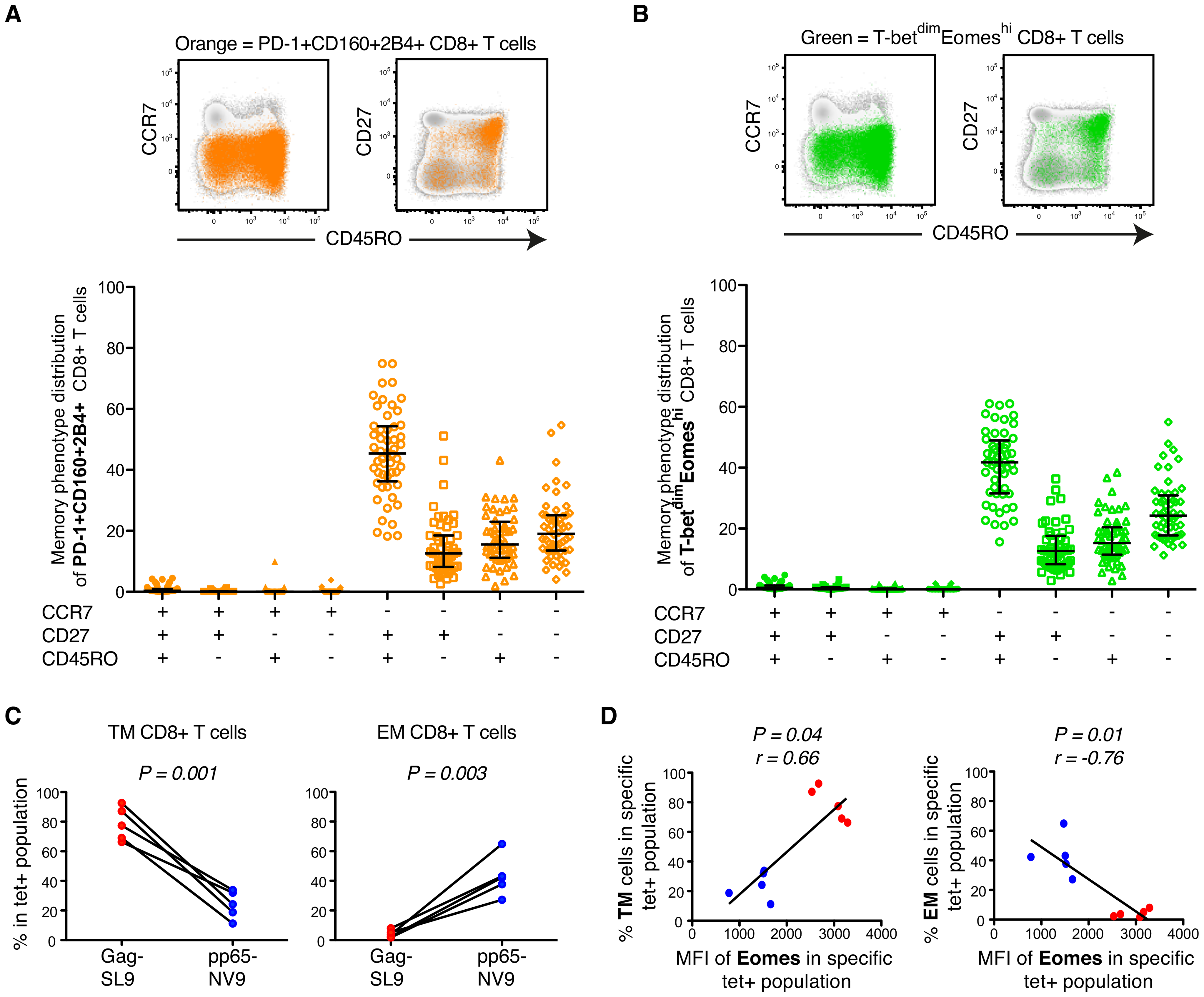 Phenotypic characterization of T-bet and Eomes expression in untreated HIV-infection.