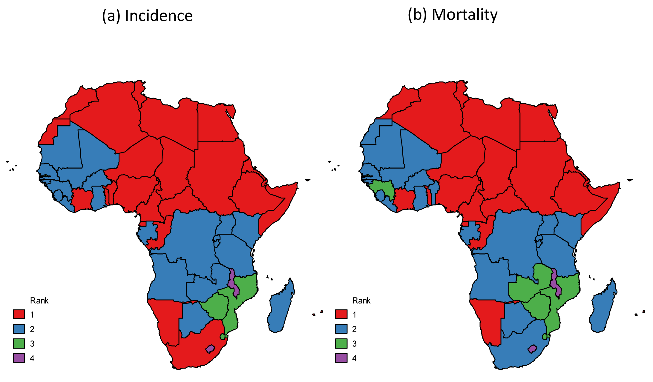"""Breast cancer ranking among women for (a) incidence and (b) mortality, Africa, 2012 <em class=""""ref"""">[1]</em>."""
